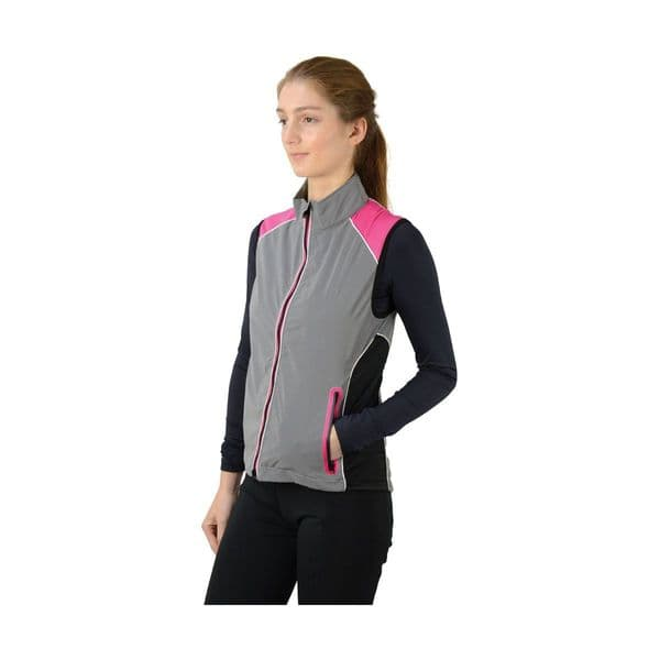 Silva flash two tone reflective gilet by hy equestrian - reflective silver/pink